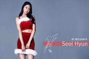 women standing seolhyun long hair aoa christmas k-pop asian