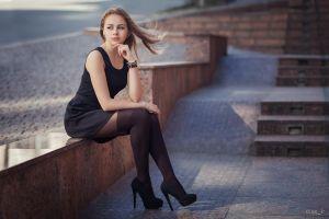women stiletto black dress looking away high heels black heels pantyhose black stockings blonde sitting