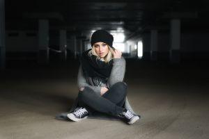 women sweater jeans shoes blonde sitting