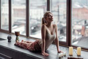 women tank top big boobs stretching blonde maxim guselnikov irina popova ponytail yoga