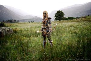 women the elder scrolls v: skyrim armor cosplay long hair bow girl in armor nature