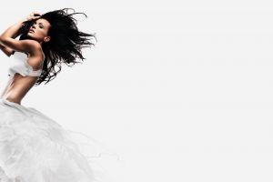 women white dress black hair tanned long hair