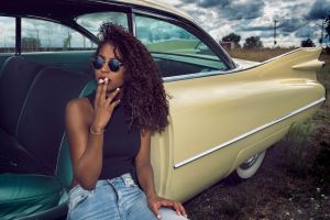 women with cars model car ebony jeans smoking women women with shades