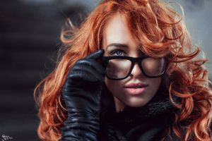 women with glasses gloves model glasses redhead touching glasses face women portrait