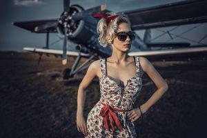 women with glasses women antonov an-2 aircraft blonde model