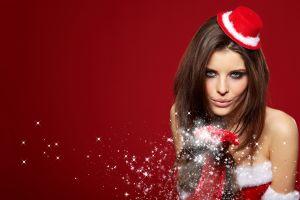 women with hats long hair christmas looking at viewer blue eyes brunette santa girl smiling skinny bare shoulders