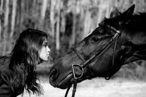 women with horse women horse dark hair women outdoors monochrome profile