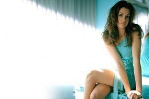 women women indoors juicy lips brunette looking at viewer brown eyes dress anne hathaway turquoise legs crossed sitting