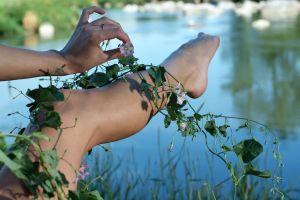 women women outdoors barefoot legs flowers