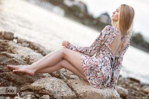 women women outdoors blonde dress riverside model