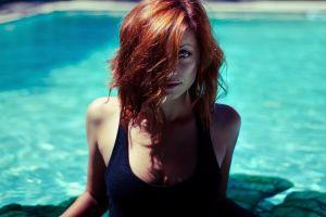 women women outdoors blue eyes swimming pool tank top face sierra love redhead hair in face