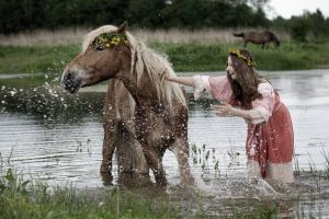 women women outdoors horse