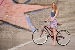 women women with bicycles bicycle tank top flower dress blonde barefoot