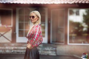 women women with glasses model sunglasses blonde hands on hips
