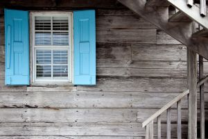 wood glass stairs house cyan planks window wooden surface gray texture selective coloring