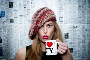 woolly hat blonde cup hat women