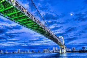 worm's eye view city bridge tokyo rainbow bridge
