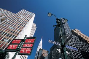 worm's eye view cityscape signs new york city manhattan