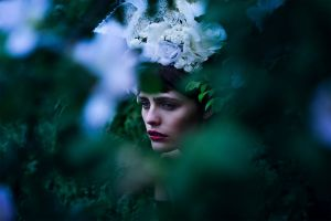 wreaths model hair ornament brunette profile women outdoors sadness