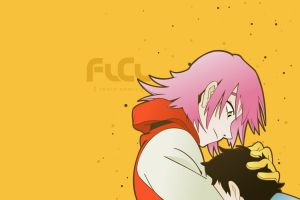 yellow background haruhara haruko flcl anime pink hair