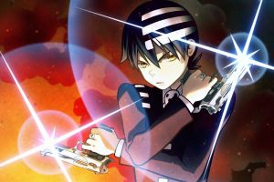 yellow eyes anime death the kid dark hair weapon gun soul eater