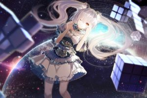 yellow eyes cube twintails planet white hair stars