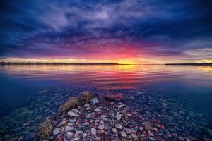 yellow lake blue pink water clouds landscape nature