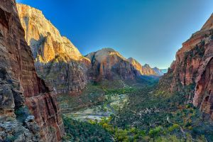 zion national park valley mountains river landscape