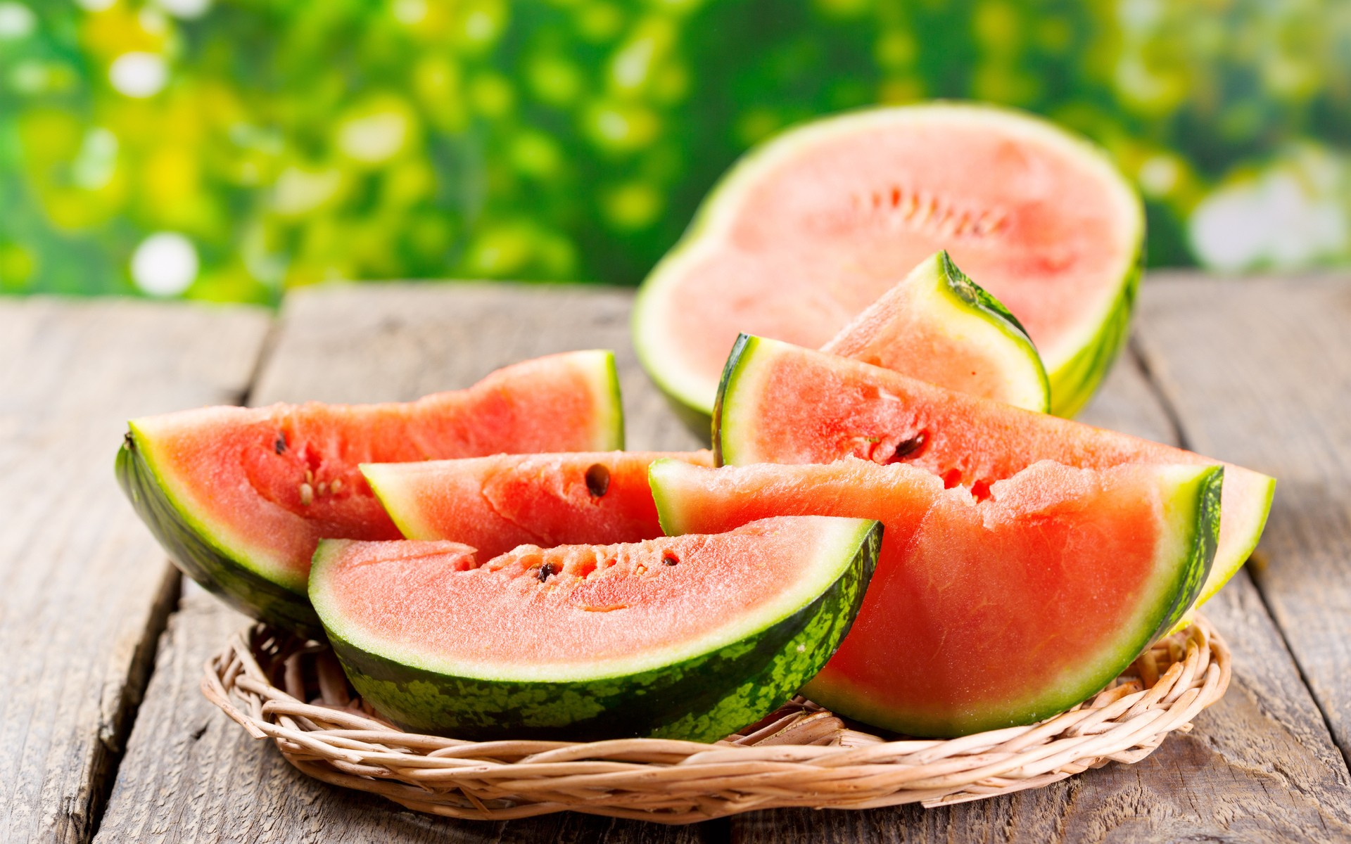 wooden surface food closeup fruit watermelons lunch
